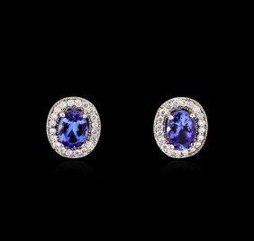 2.40ctw Tanzanite And Diamond Earrings - 14kt White