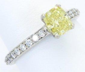 Gia Certified 1.37ctw Yellow Diamond Ring - 14kt White