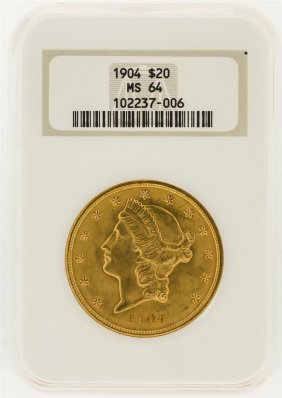 1904 Ngc Ms64 $20 Liberty Head Double Eagle Gold Coin