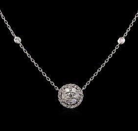 0.74ctw Diamond Necklace - 14kt White Gold