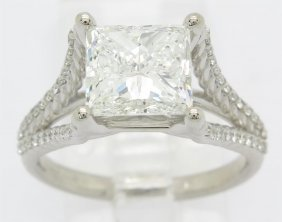 Gia Certified 3.25ctw Diamond Ring - 14kt White Gold