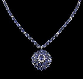 50.95ctw Blue Sapphire And Diamond Necklace - 14kt