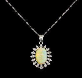 3.42ct Opal And Diamond Pendant - 14kt White Gold
