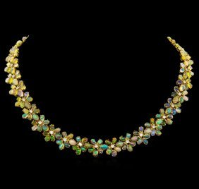 30.87ctw Opal And Diamond Necklace - 14kt Yellow Gold