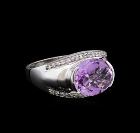 Crayola 3.95ct Pink Amethyst And White Sapphire Ring -