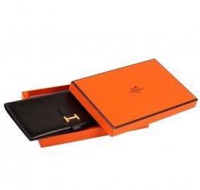 Hermes Black Leather Ladies Wallet