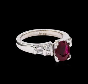 1.23ct Ruby And Diamond Ring - 14kt White Gold