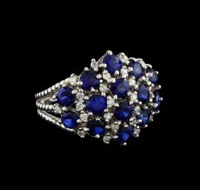 3.12ctw Sapphire And Diamond Ring - 14kt White Gold