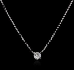 14kt White Gold 0.50ct Diamond Solitaire Pendant With