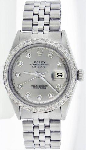 Rolex Stainless Steel 1.20ctw Diamond Datejust Men's