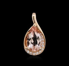 14kt Rose Gold 1.69ct Morganite And Diamond Pendant