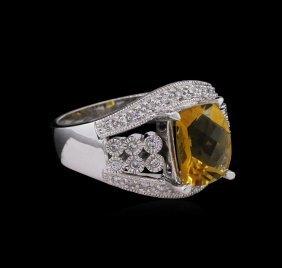 2.85ct Citrine And Diamond Ring - 14kt White Gold