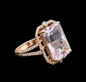 14kt Rose Gold 9.78ct Kunzite And Diamond Ring