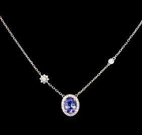 1.25ct Tanzanite And Diamond Necklace - 14kt White Gold