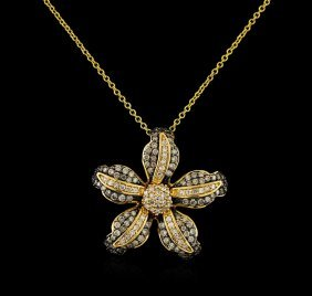 0.73ctw Diamond Pendant With Chain - 14kt Yellow Gold