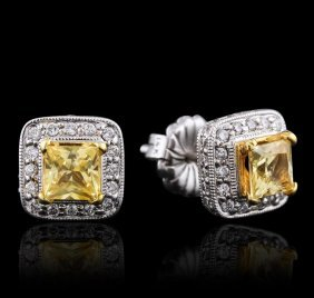18kt White Gold 2.00ctw Yellow Sapphire And Diamond