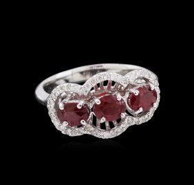 1.67ctw Ruby And Diamond Ring - 14kt White Gold