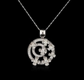 14kt White Gold 1.76ctw Diamond Pendant With Chain