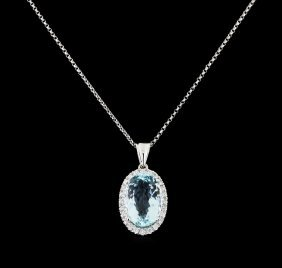 7.21ct Aquamarine And Diamond Pendant With Chain - 14kt