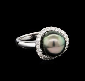 1.46ctw Pearl And Diamond Ring - 14kt White Gold