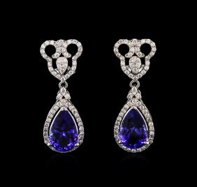 8.65ctw Tanzanite And Diamond Earrings - 14kt White