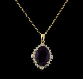 4.40ct Amethyst And Diamond Pendant With Chain - 14kt