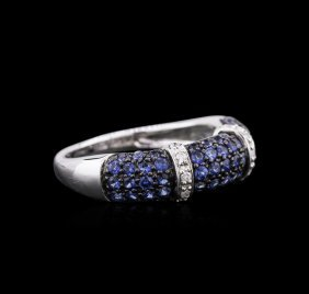 10kt White Gold 1.06ctw Blue Sapphire And Diamond Ring