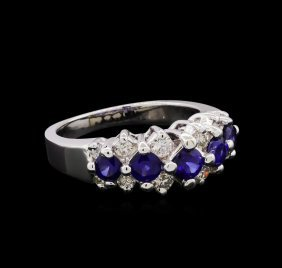 1.01ctw Sapphire And Diamond Ring - 14kt White Gold