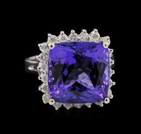 14kt White Gold 12.95ct Gia Certified Tanzanite And