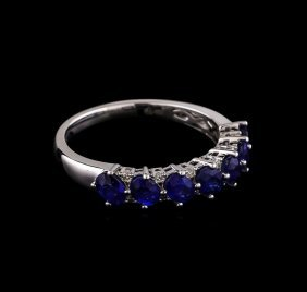 1.44ctw Sapphire And Diamond Ring - 18kt White Gold