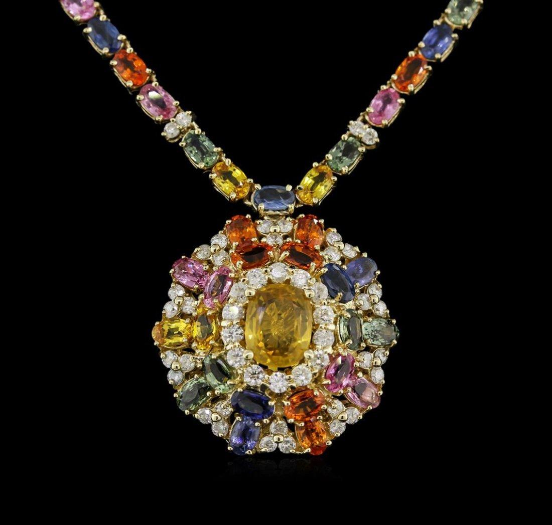 35.30ctw Multi Color Sapphire and Diamond Necklace -