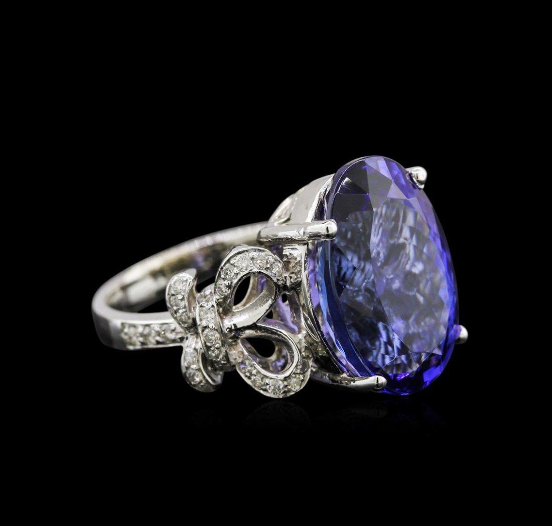 12.47ct Tanzanite and Diamond Ring - 14KT White Gold