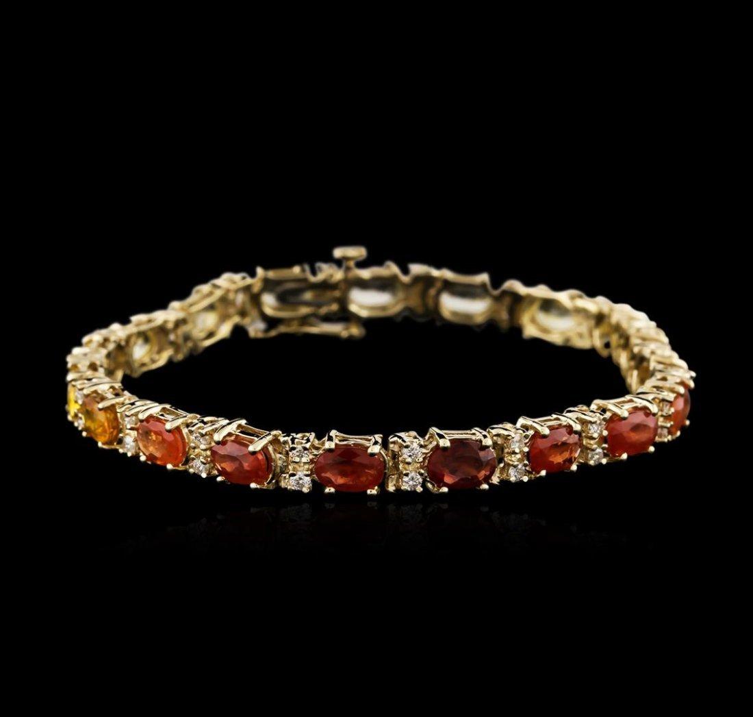 14KT Yellow Gold 10.83ctw Sapphire and Diamond Bracelet
