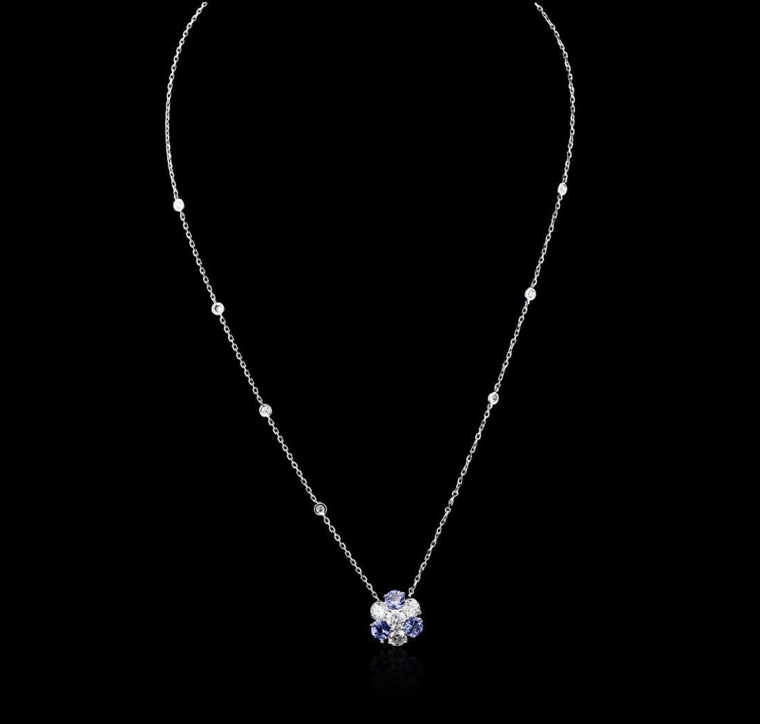 14KT White Gold 1.44ctw Tanzanite and Diamond Necklace