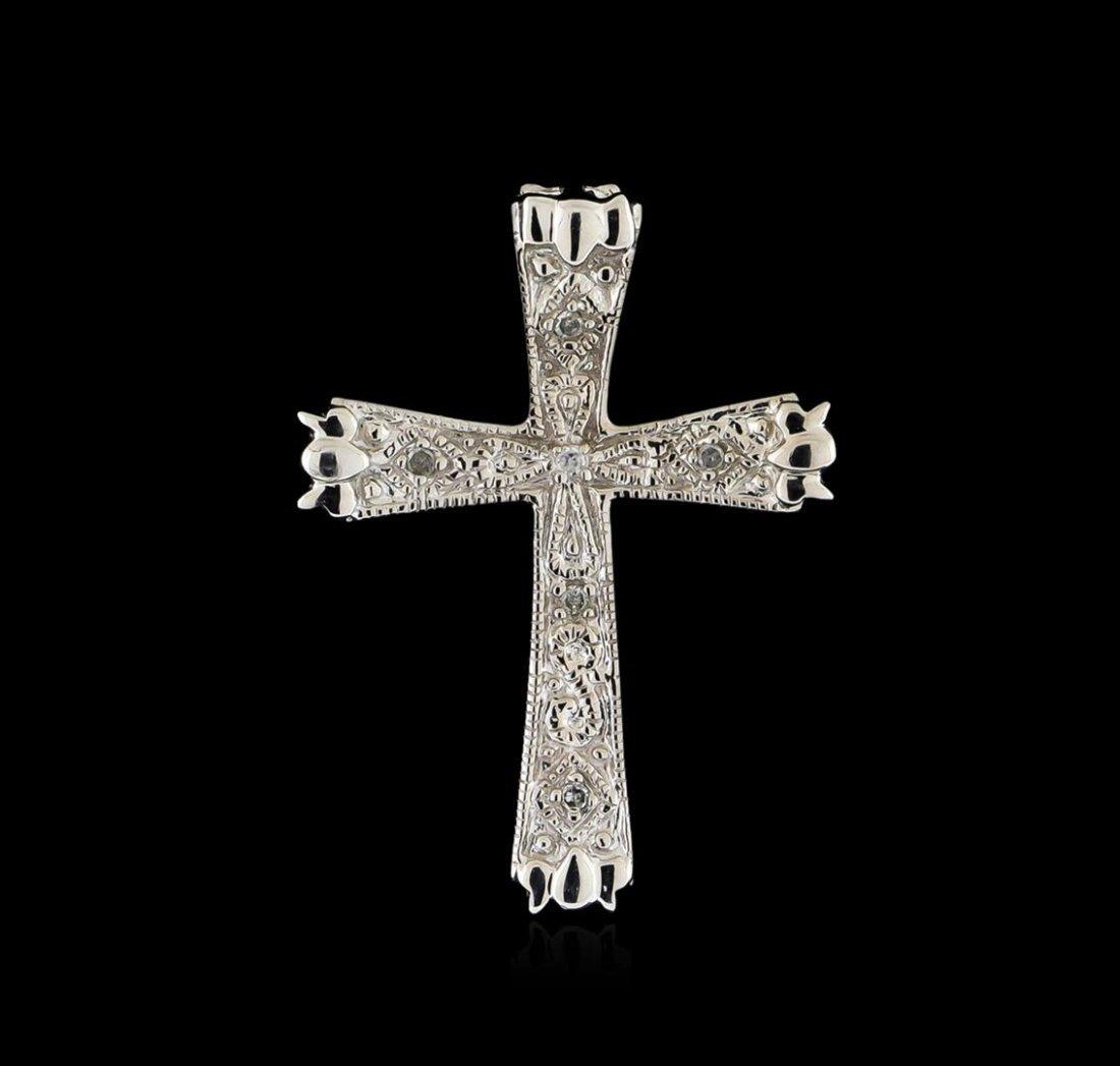 0.05ctw Diamond Cross Pendant - 10KT White Gold