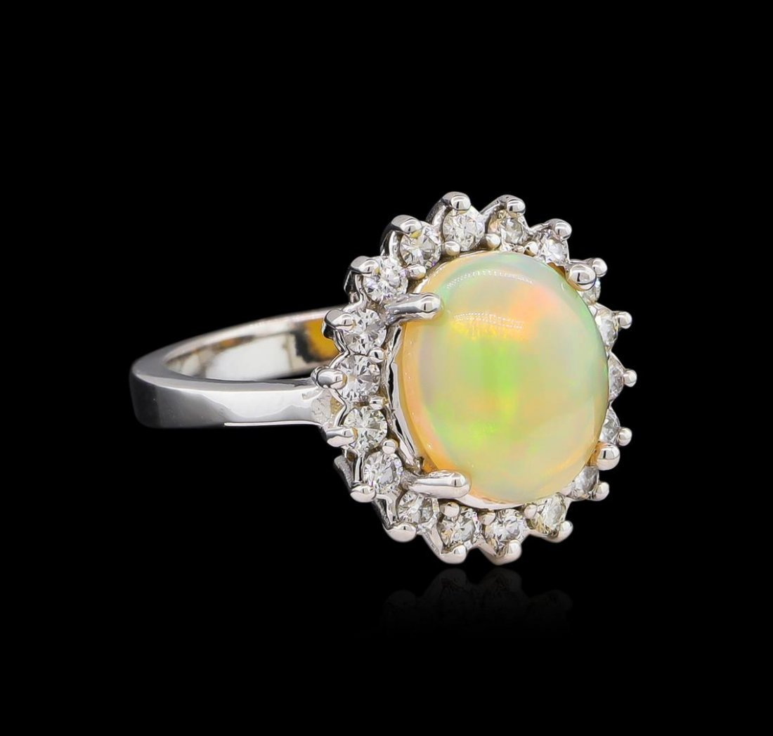 2.35ct Opal and Diamond Ring - 14KT White Gold