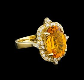 5.25ct Citrine And Diamond Ring - 14kt Yellow Gold
