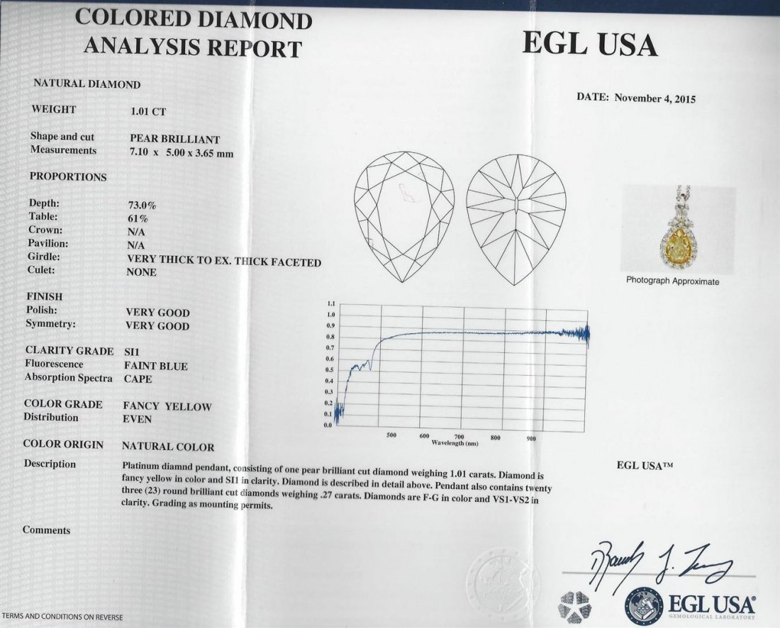 EGL USA Cert 1.28ctw VS1 Fancy Yellow Diamond Pendant - 3