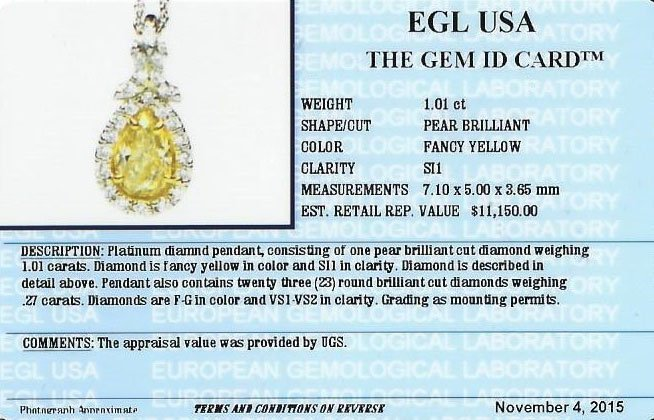 EGL USA Cert 1.28ctw VS1 Fancy Yellow Diamond Pendant - 4