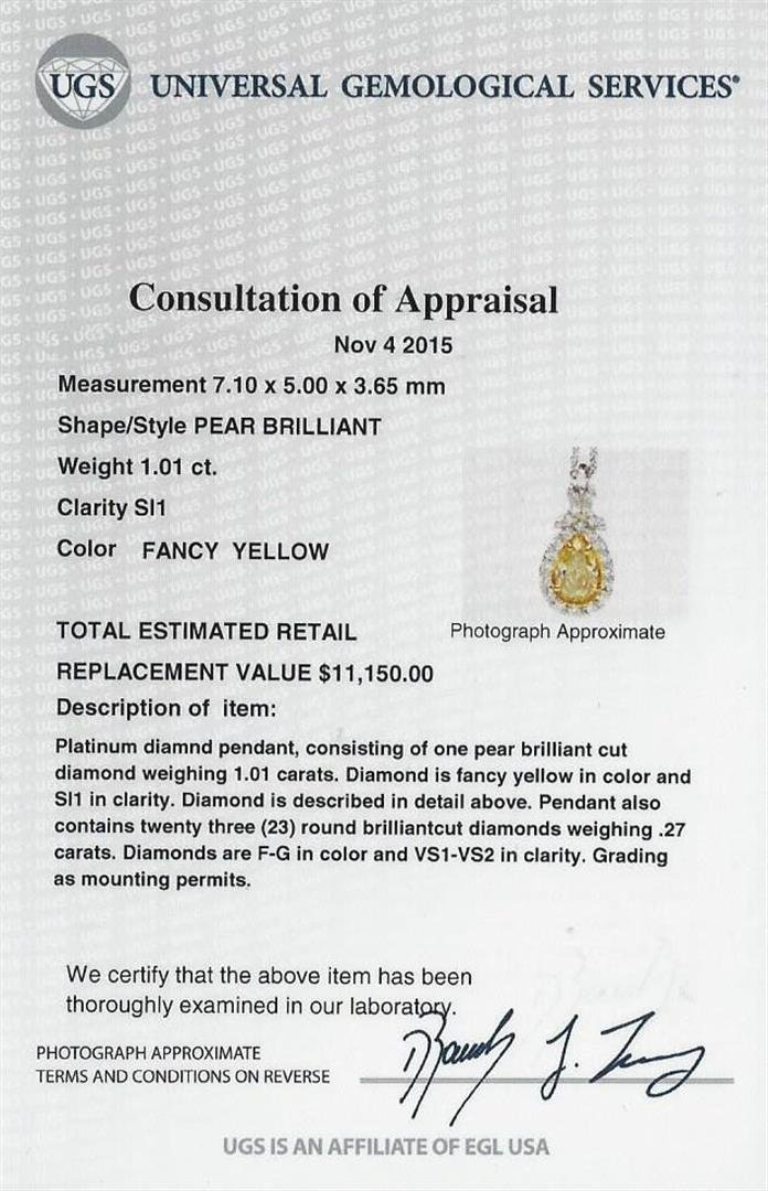 EGL USA Cert 1.28ctw VS1 Fancy Yellow Diamond Pendant - 5