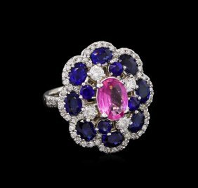 1.52ct Pink Topaz, Sapphire And Diamond Ring - 14kt