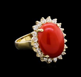 6.80ct Coral And Diamond Ring - 14kt Yellow Gold