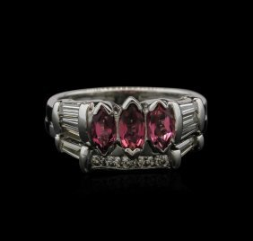 1.00ctw Pink Tourmaline And Diamond Ring - 14kt White