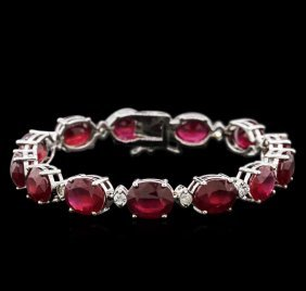 46.40ctw Ruby And Diamond Bracelet - 14kt White Gold