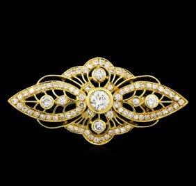 1.40ctw Diamond Pin - 18kt Yellow Gold