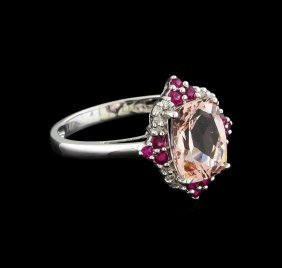 2.02ct Morganite, Ruby And Diamond Ring - 14kt White