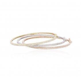 14kt Three-tone Gold 2.64ctw Diamond Bangle Bracelets