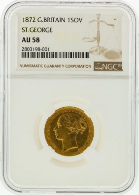1872 Ngc Au58 Great Britain 1 Sovereign St. George Gold