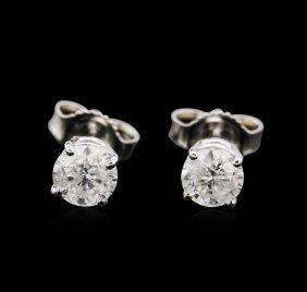 0.91ctw Diamond Stud Earrings - 14kt White Gold