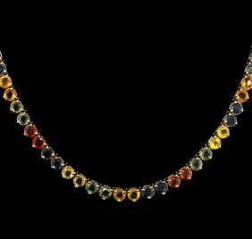 37.08ctw Multi Color Sapphire Necklace - 14kt Yellow